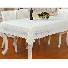 Large Square Embroidered Tablecloth Vintage Geely Flower Table Topper 55x79''
