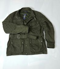 POLO RALPH LAUREN QUILTED OIL-CLOTH OLIVE MILITARY MEN JACKET WITH BELT (XXL)