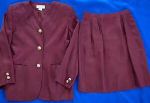 Vintage Petite Sophisticate Womens 2 Pc Suit Wine Damask Skirt & Blazer Size 8P