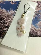 Japanese Hand-made Cell phone Strap Sakura&Pearl  From Japan Shipping Free