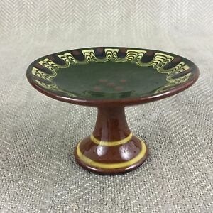 Miniature Cake Stand Plate Taza Dish Bulgarian Vintage Troyan Ware Pottery