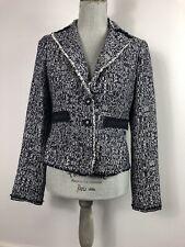 Ann Taylor Size 2 Textured Blue White Heatherws Raw Edge Career Blazer Jacket