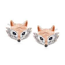 Ross-Simons Zafiro y Diamante Fox Stud Pendientes de plata esterlina en dos tonos