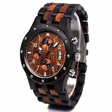 Bewell Luminous Wooden Watch Multifunction and Date Display Fashion Wrist for