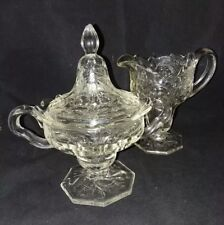 Rock Crystal Footed Sugar Bowl Lid Creamer By McKee Clear Depression Vintage