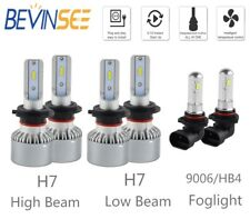 BEVINSEE For Benz C230 2002-2007 6x Combo H7 9006 LED Headlight Fog Light Bulbs