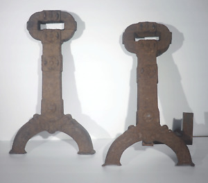 VTG ANTIQUE 1890s STOVER MFG CO CAST IRON ANDIRONS #138 FREEPORT IL