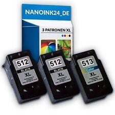 3x Tintenpatronen für  2x Canon 512 XL und 513 XL MP250 MP280 MP495   bei Nano
