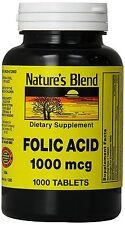 Nature's Blend Folic Acid 1000 mcg ( 1mg ) 1000 Tabs  FRESH PHARMACY STOCK!