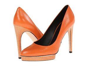 NIB Calvin Klein COLLECTION DEMI leather heels pump shoes Fire/stingray 10