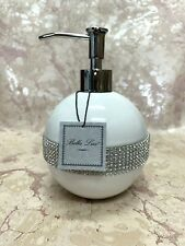 (1) BELLA LUX Soap Dispenser White With Silver Crystals RHINESTONES NEW!