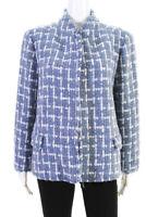 Lafayette 148 New York Womens Open Front Tweed Jacket Blue Wool Size 14