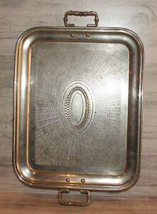 Vintage Art Deco chromed metal serving tray