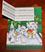 UNUSED Vintage CATS KITTENS PLAYING JINGLE BELLS - SONGBOOK Christmas Card