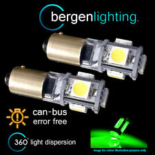 2X BAX9s H6W 434 CANBUS ERROR FREE GREEN 5 LED SIDELIGHT BULBS HID SL101501