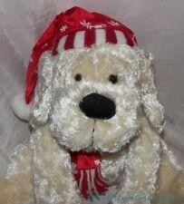 """Rare ATICO Plush 15"""" VANILLA CREAM CHENILLE PUPPY Dog w/Red Winter Hat & Scarf"""