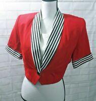 Vintage Michael B Ltd Petite Women Sailor Top Red White Black  Sz 8 Short Sleeve