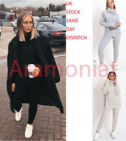 Womens Chunky Knitted Loungewear Ladies Polo High Neck Top Leggings Suit Set
