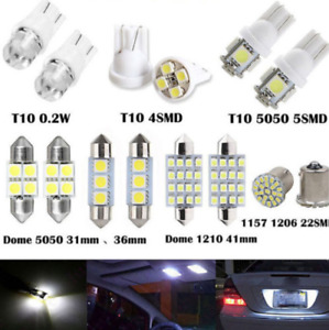 14Pcs White Car LED Interior Package Kit For T10 Map Dome License Plate Lights