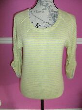 REISS YELLOW GREY STRIPED 100% COTTON SCOOP NECK TOP XS 14 16   3/4 sleeves