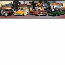 Four Decades of Hot Rod Cars Black Edge Wallpaper Border BBC50142B / LL50142B
