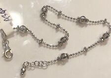 "18K White Gold Thin Shinny Diamond Cut Balls Bracelet 2.6 Grams - 7"" Women Italy"