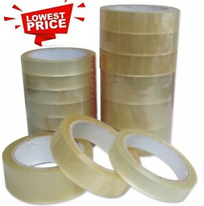 CLEAR TAPE STRONG PARCEL PACKAGING PACKING ADHESIVE CELLOTAPE 25MM X 66M ROLLS