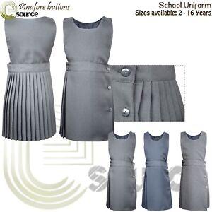 Pinafore Dress Pleated 2-16 Girls School Uniform Bib Grey Pini dress Children