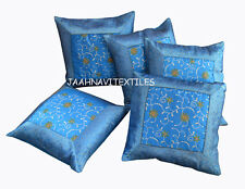"INDIAN NEW ETHNIC HANDMADE 16X16"" BROCADE WORK CUSHION COVER DECOR ART SET OF 5"