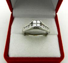 14k White Gold Princess cut invisible setting Diamonds 0.75 ctw Anniversary Ring