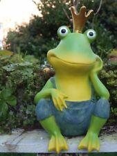 Frosch Figur Froschkönig sitzend Krone lustig Hose NEUHEIT  Gartendeko Frosch