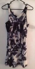 Fashion Fair Strap Dress Medium Black Grey Cream Polyester/Elastane Ruffle Front