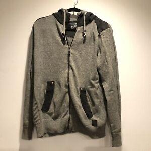 Buffalo David Bitton Mens Medium M Fleece Lined Hoodie Zip Up Jacket