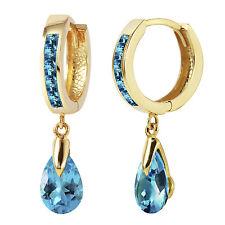 4.2 Carat 14K Solid Gold Huggie Earrings Dangling Blue Topaz