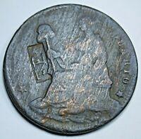 Mexico 1834 Countermarked 1/4 Real Un Quarto Antique 1800's Counterstamp Coin