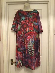 Lagenlook Shift Dress Bold Bright Floral Short Sleeves By Yuzao 5XL UK 22/24