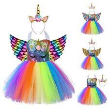 Bebé Traje Vestido Tutú De Unicornio Hadas Alas Fiesta Falda Niños Niñas Prendas de vestir Cuerno