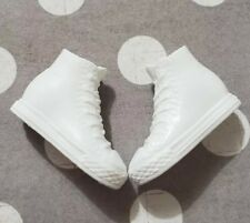BARBIE DOLL SHOES FASHIONISTAS CURVY WHITE SNEAKERS TENNIS CONVERSE HIGH TOPS