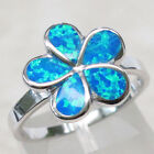 ADORABLE FLOWER BLUE OPAL 925 STERLING SILVER RING SIZE 5-10