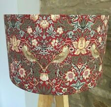 Handmade William Morris Strawberry Thief-Lampshade-Floral- Bird-Red-Green