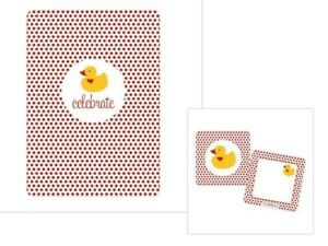 Baby Shower Rubber Ducky INVITATIONS Set w/ BONUS Gift tags (10)