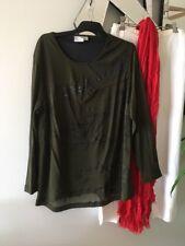 TS TAKING SHAPE Olive Khaki Green Long Mesh Sleeve Stretch Tunic Top Blouse S XS