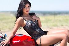Hot Sexy Brunette Woman Female Ducati Motorcycle Bike Motorbike Poster 13x19