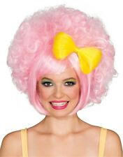 Womens 80s Pastel Pink Harajuku Anime Costume Cutie Doll Wig With Yellow Bow