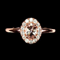 Unheated Oval Pink Morganite 6x4mm Cubic Zirconia 925 Sterling Silver Ring Sz 7