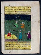 1600's Antique SHAHNAMEH Persian ILLUMINATED MANUSCRIPT Islamic PAINTING Arabic