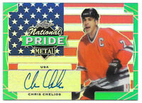 2016-17 Chris Chelios Leaf Metal National Pride Auto Green 1/3 - Blackhawks