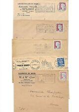 N°08-lot 5 flammes anciennes  sur  enveloppe timbrée-1950-60-