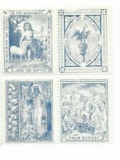 Great Britain Scottish Sunday School stamps 1890's se-tenant block 4, Palmsunday