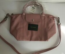 NWT!!Longchamp Le Pliage Cuir Small Leather Satchel In Blush MSRP $495